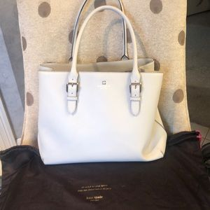 Kate Spade White/cream Leather Tote